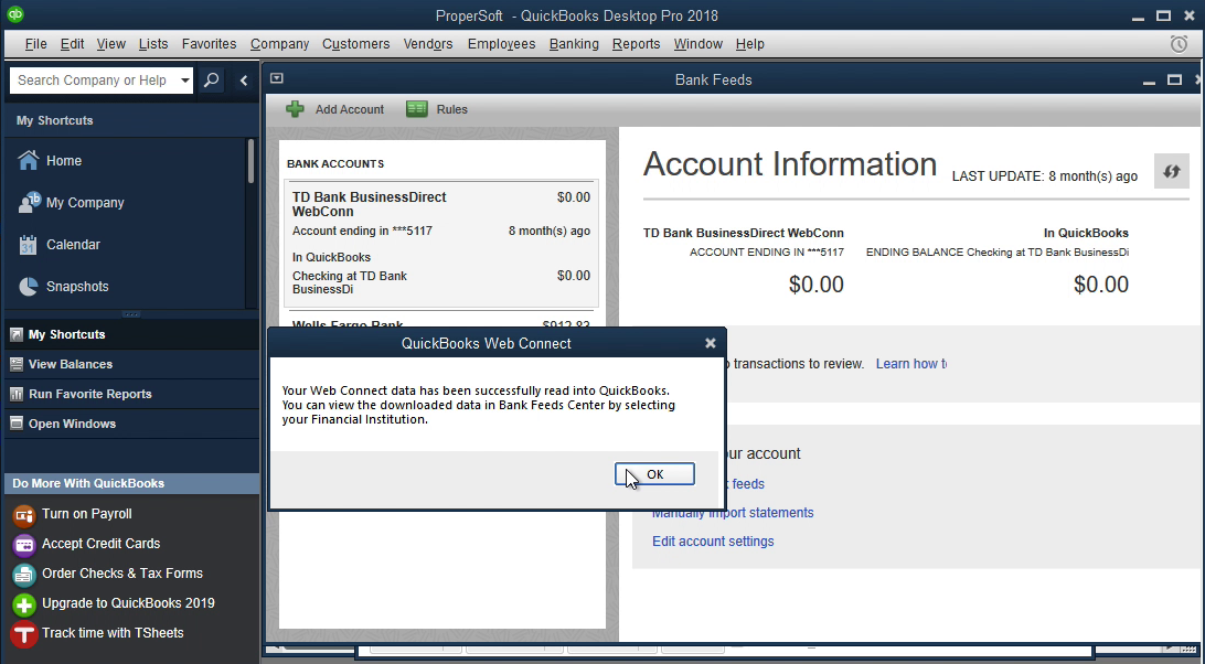 QIF2QBO Windows Step 14: data is imported in Quickbooks