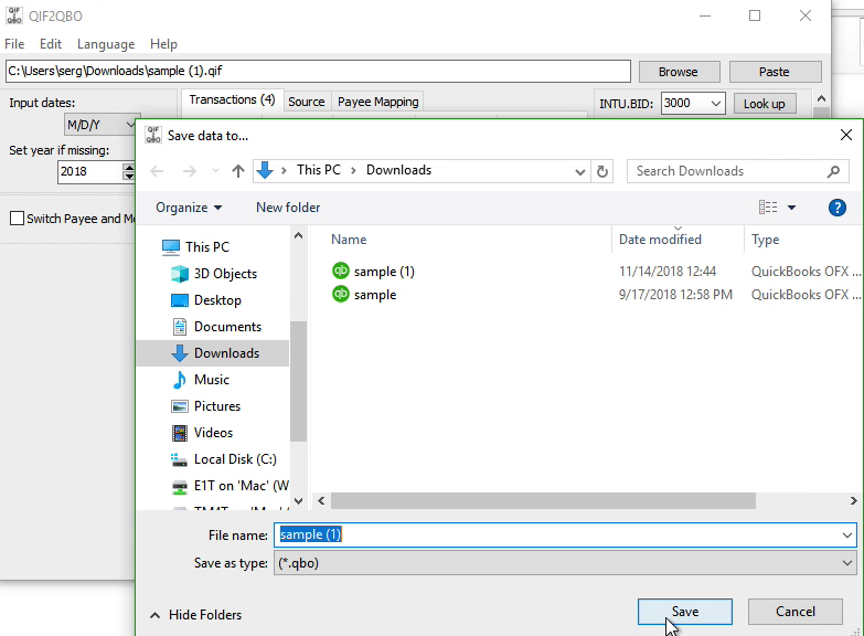 QIF2QBO Windows Step 7: file name and location, save