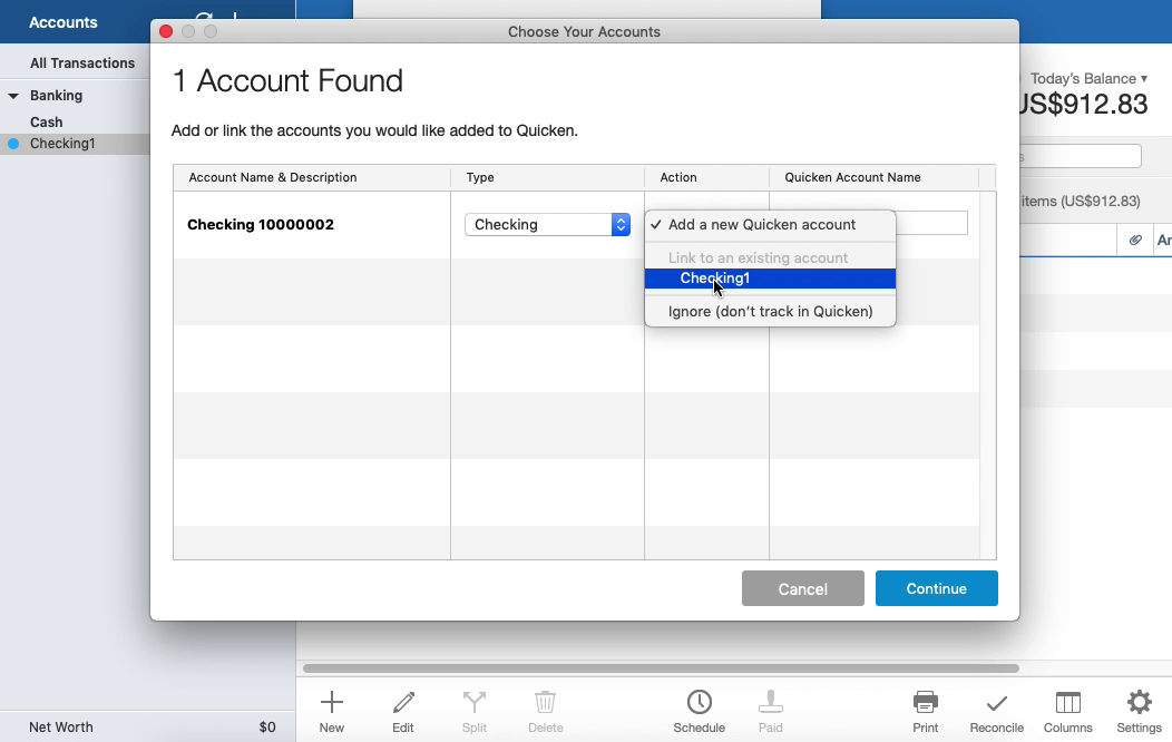 QIF2QFX Mac Step 16: select an existing account in Quicken