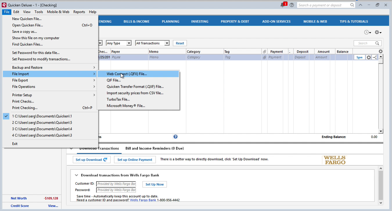 QIF2QFX Windows Step 11: file, import, web connect in Quicken