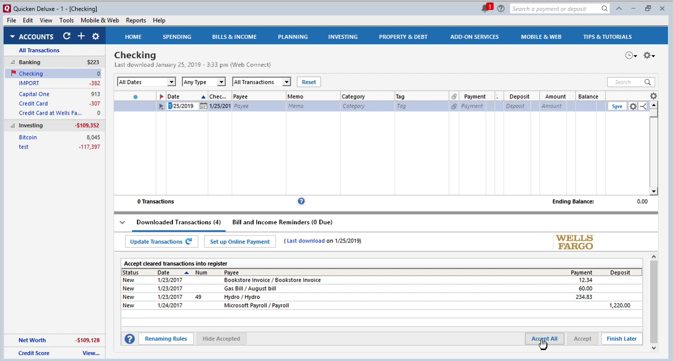 QIF2QFX Windows Step 15: data is imported in Quicken