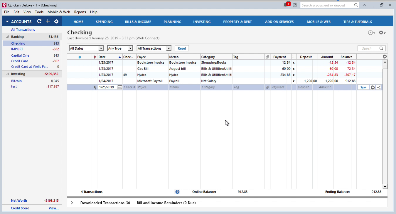 QIF2QFX Windows Step 16: Review transactions after QFX import in Quicken