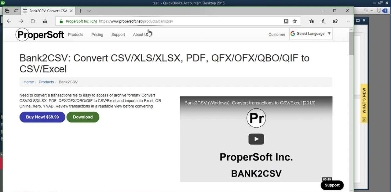 Convert transaction files to Quickbooks Accountant Batch Entry Step 1: download bank2csv