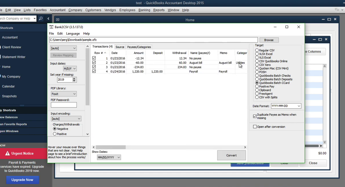 Convert transaction files to Quickbooks Accountant Batch Entry Step 10: payees/categories