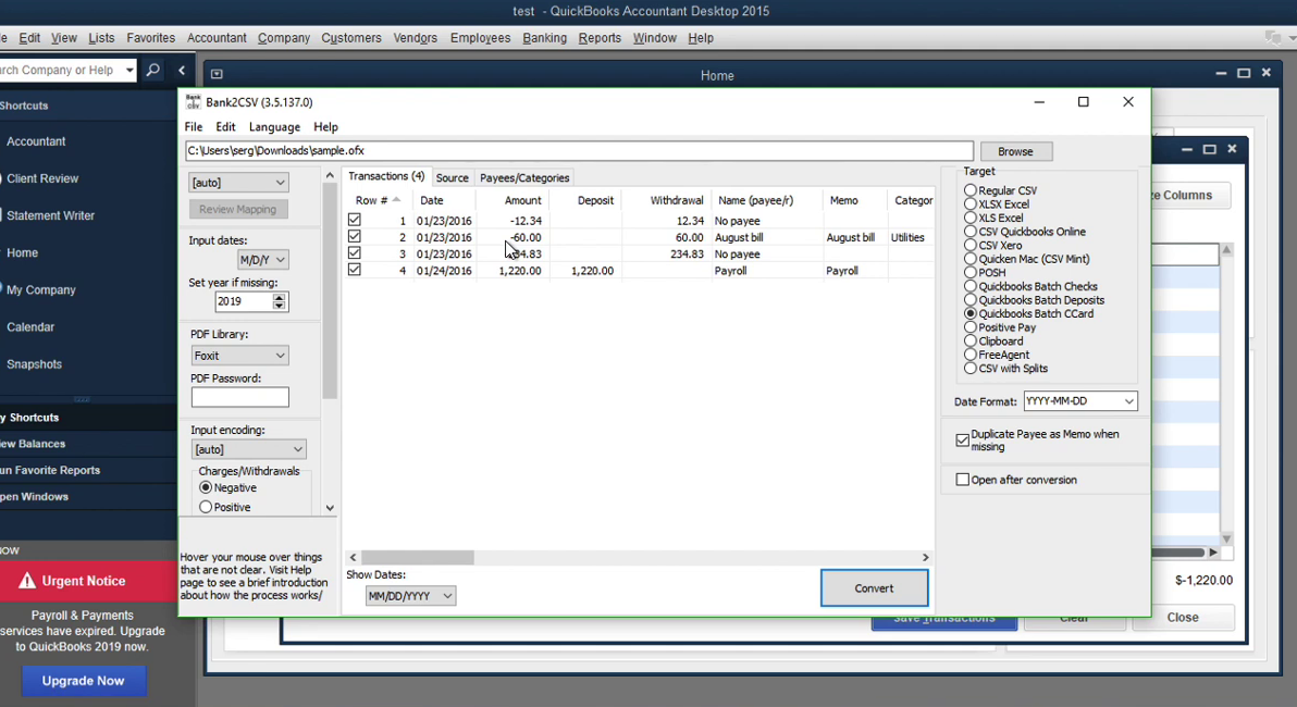 Convert transaction files to Quickbooks Accountant Batch Entry Step 16: charges in tool