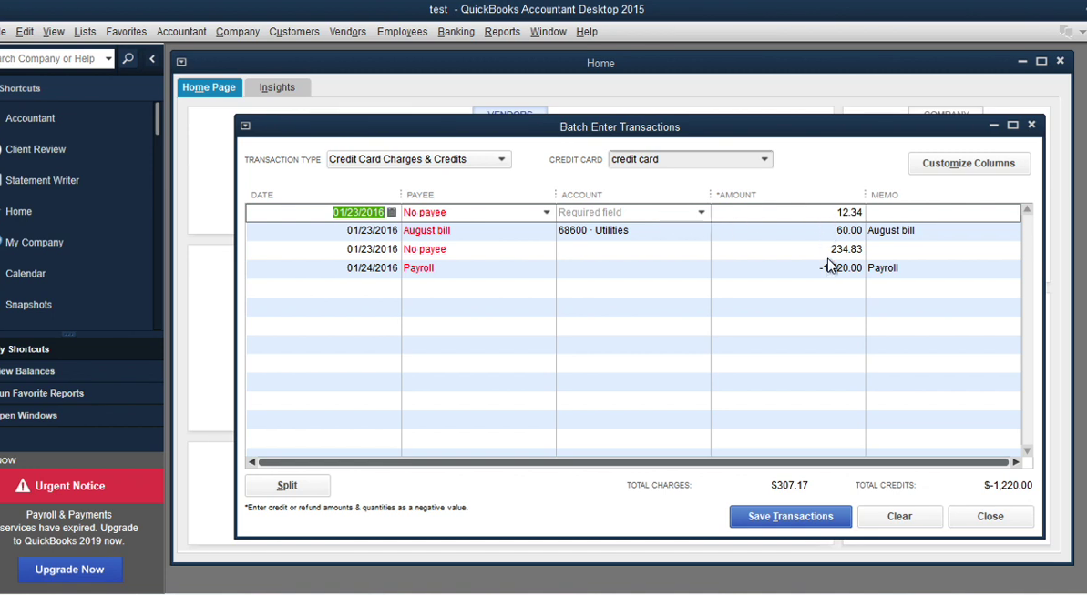 Convert transaction files to Quickbooks Accountant Batch Entry Step 17: charges for batch entry
