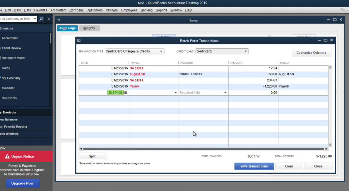 Convert transaction files to Quickbooks Accountant Batch Entry Step 19: done