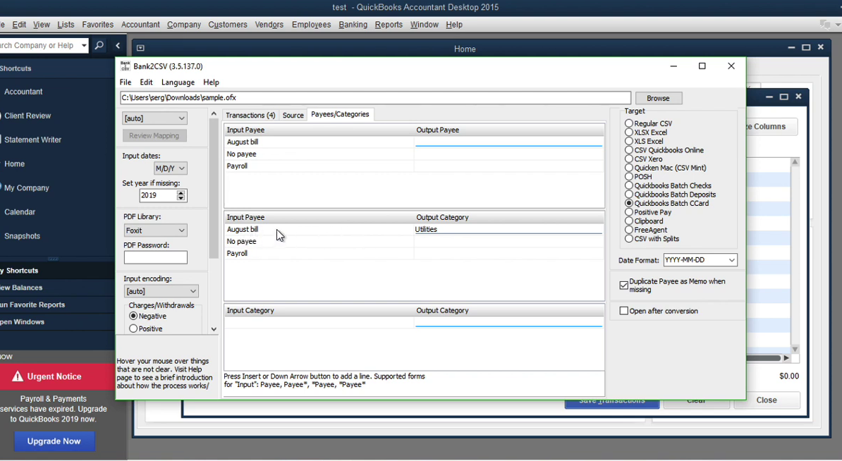 Convert transaction files to Quickbooks Accountant Batch Entry Step 9: payees/categories