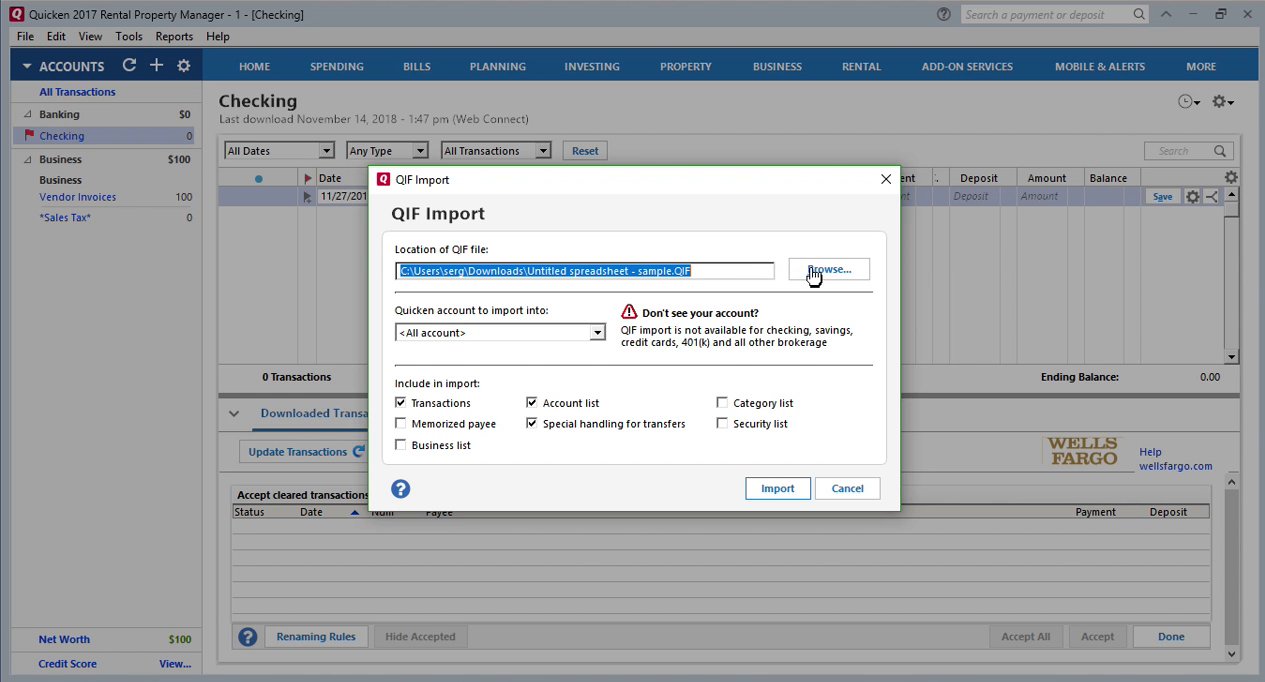 How Quickly Prepare and Print Checks in Quicken Step 12: browse button