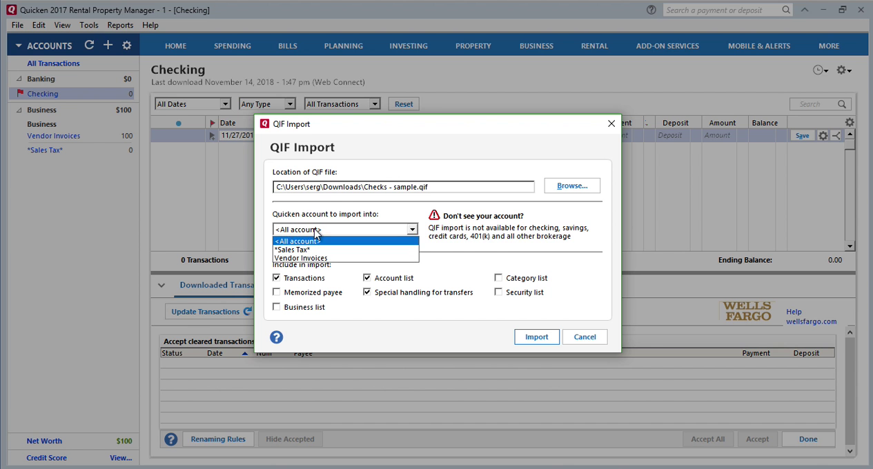 How Quickly Prepare and Print Checks in Quicken Step 14: all account in Quicken