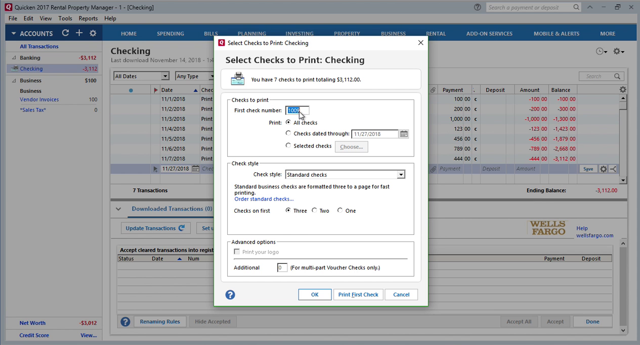 How Quickly Prepare and Print Checks in Quicken Step 19: first check number