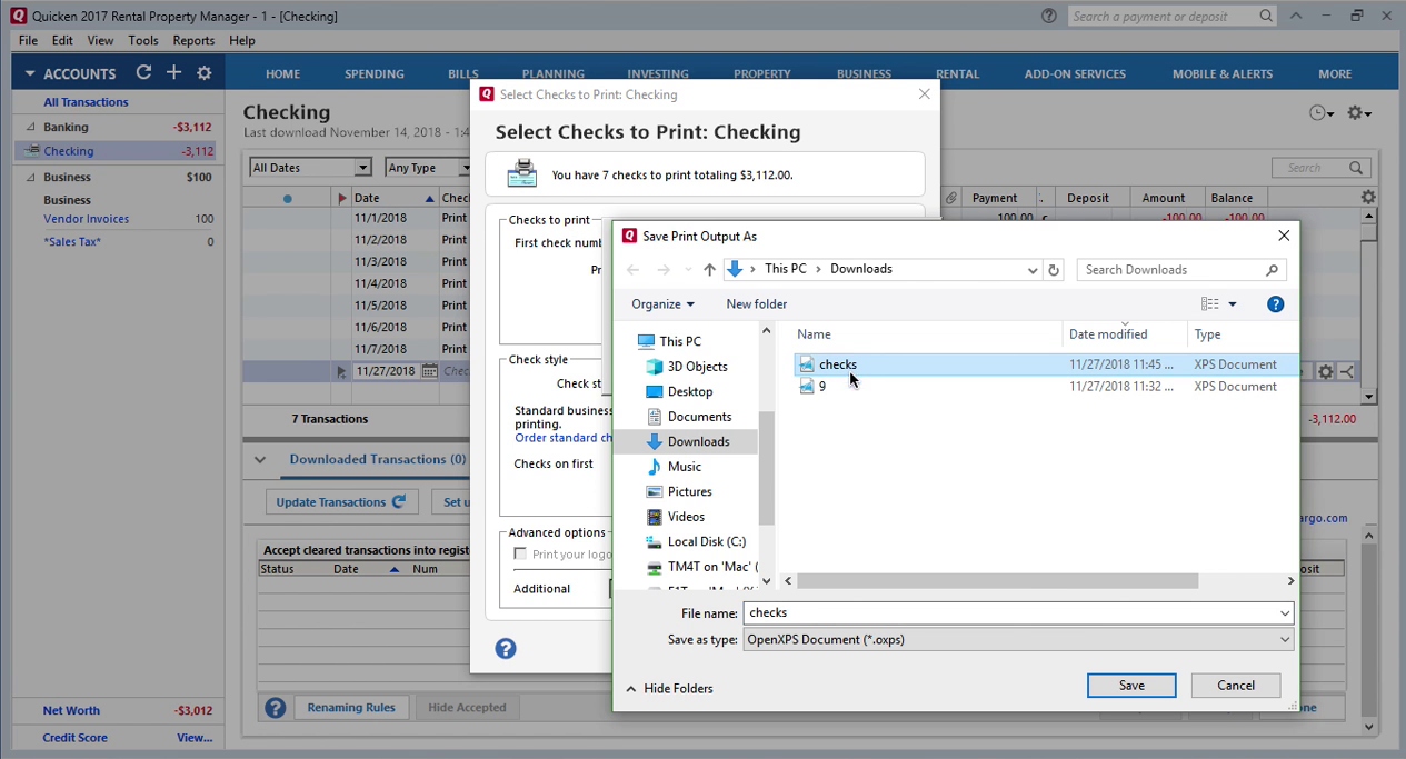How Quickly Prepare and Print Checks in Quicken Step 20: save print output