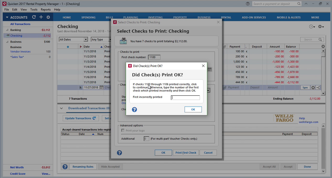 How Quickly Prepare and Print Checks in Quicken Step 21: did check print ok