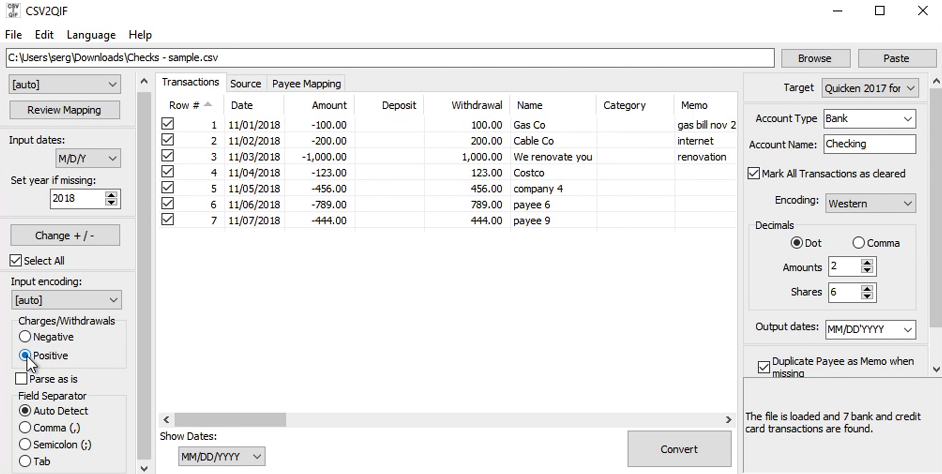 How Quickly Prepare and Print Checks in Quicken Step 7: charges