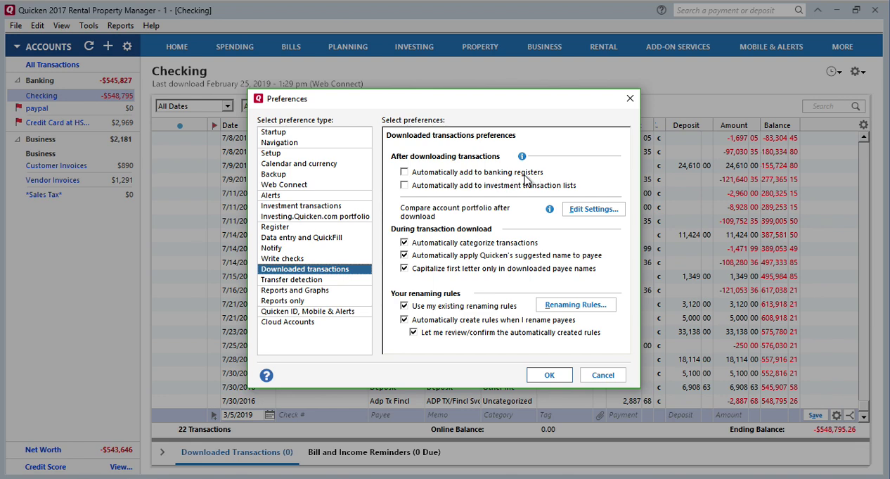 How to review imported transactions in Quicken separately Step 3: preferences, downloaded transactions