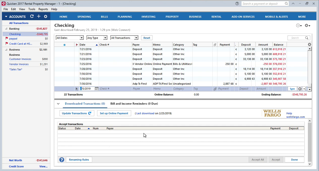 How to review imported transactions in Quicken separately Step 4: accept all