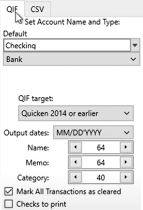 Set attributes for the QIF files Step 2: right panel QIF Tab