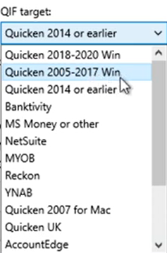 Set attributes for the QIF files Step 4: QIF Target Quicken 2005