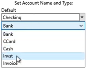 Set attributes for the QIF files Step 5: Account Type