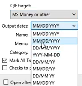 Set attributes for the QIF files Step 7: date format