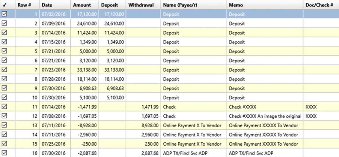 Set attributes to convert to the OFX format Step 3: transaction data