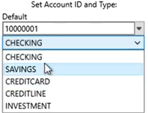 Set attributes to convert to the OFX format Step 5: Account Type