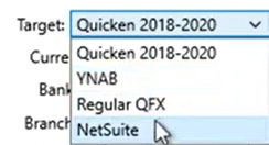 Set parameters to convert to the QFX format Step 13: Target