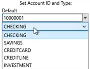 Set parameters to convert to the QFX format Step 4: Account Type