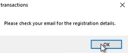 Start a ProperSoft converter for the first time Step 3: message to check email