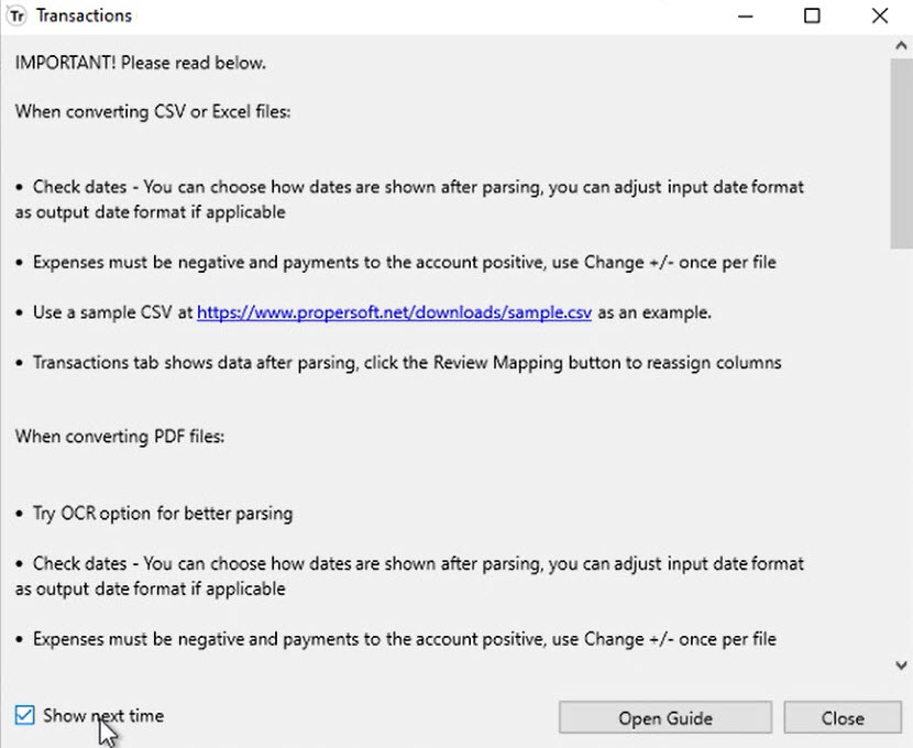 Start a ProperSoft converter for the first time Step 5: welcome message