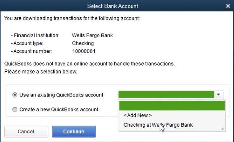 How to use Transactions Step 15: Choose the new or existing account