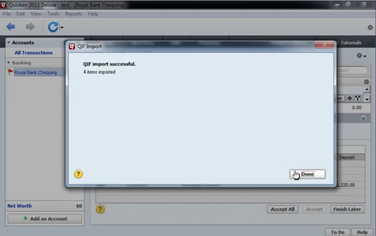 Use CSV2QIF to import CSV as QIF into Quicken 2013 Step 14: data imported