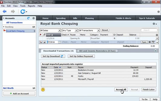 Use CSV2QIF to import CSV as QIF into Quicken 2013 Step 15: accept all