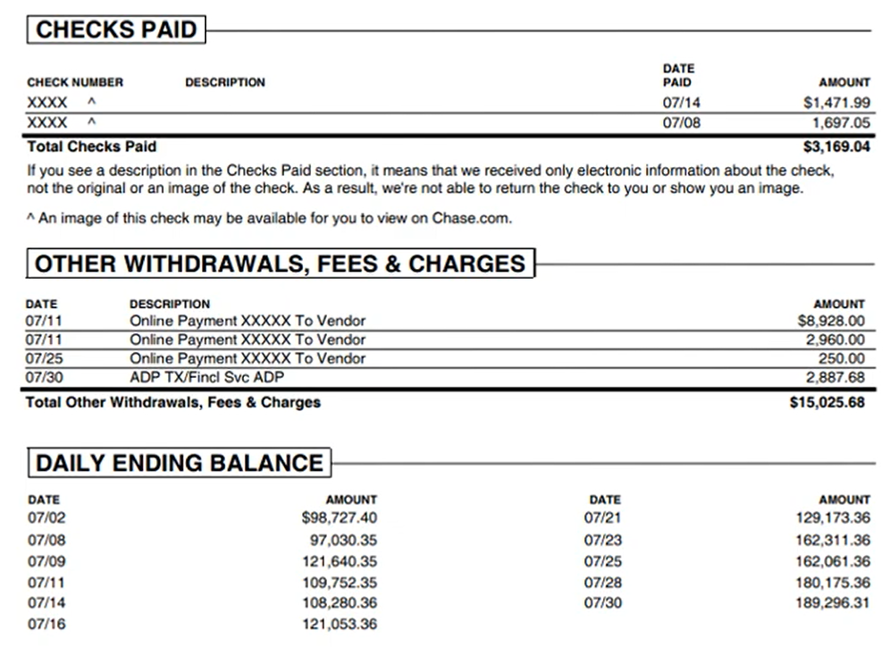 How to use PDF2QBO converter Step 6: chase Withdrawals
