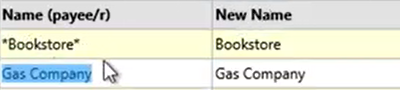 How to use the Renamings tab Step 14: Gas company