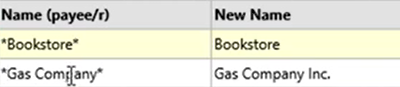 How to use the Renamings tab Step 16: Gas company Asterisk
