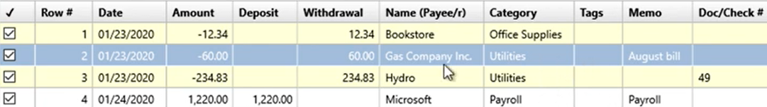 How to use the Renamings tab Step 18: Gas company Inc changed