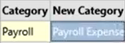 How to use the Renamings tab Step 23: Category Payroll