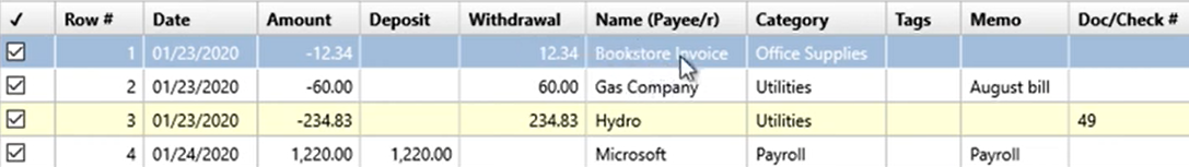How to use the Renamings tab Step 6: Bookstore invoice