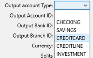 How to work with CSV or Excel files Step 10: Output account Type