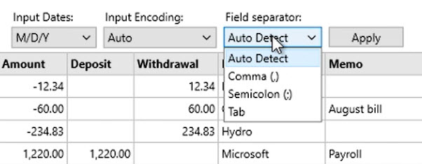 How to work with CSV or Excel files Step 16: Field separator