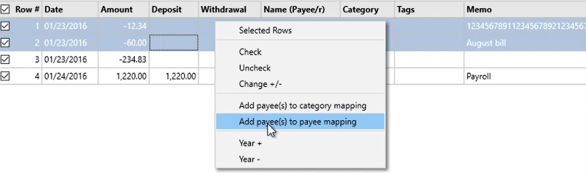 How to work with loaded transactions Step 15: Add payee(s) to category mapping