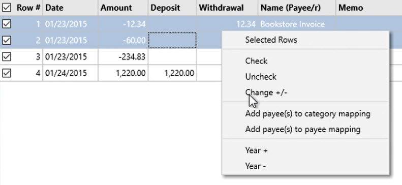 How to work with transactions Step 15: highlight transactions, menu