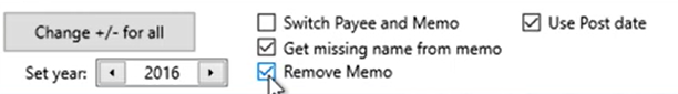 Working with transactions Step 20: remove Memo