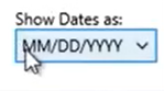 Working with transactions Step 22: Show dates as