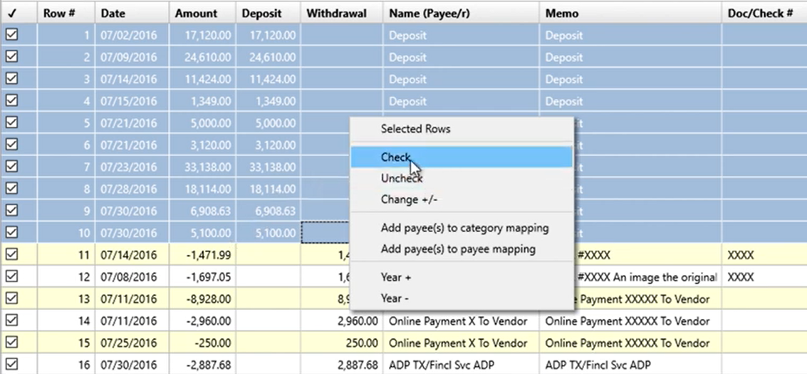 Working with transactions Step 4: check
