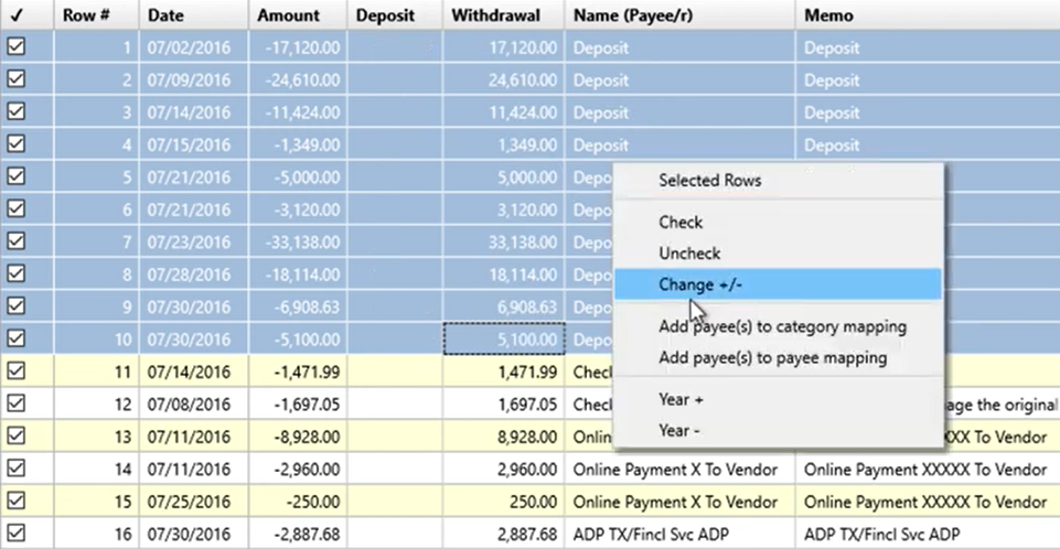 Working with transactions Step 5: change +/-