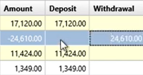 Working with transactions Step 9: change Withdrawal to Deposit